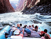 Riding the rapids down the Colorado River in Grand Canyon National Park in AZ.